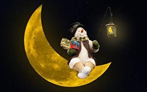 Fotos Mondsichel Schneemänner Geschenke Laterne Mond Der Hut Sitzend