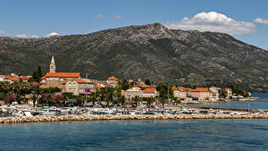 Hintergrundbilder Kroatien Küste Haus Schiffsanleger Hügel  Städte