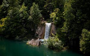 Fotos Kroatien Park See Wasserfall Felsen Bäume Plitvice Lakes National Park