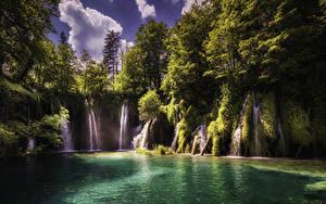 Hintergrundbilder Kroatien Parks Wasserfall See Felsen Bäume Plitvice Lakes National Park