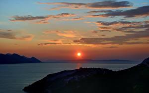 Bilder Kroatien Sonnenaufgänge und Sonnenuntergänge Meer Himmel Sonne Wolke