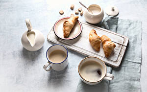 Pictures Croissant Coffee Cutting board Breakfast Cup Mug Cream Sugar