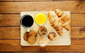 Desktop hintergrundbilder Croissant Saft Keks Kaffee Frühstück Lebensmittel