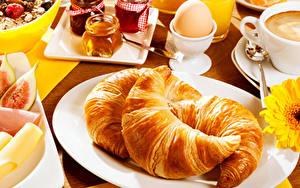 Bilder Croissant Teller Ei Drei 3 Frühstück Lebensmittel