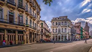 Desktop hintergrundbilder Kuba Haus Straße Stadtstraße HDRI Havana Städte