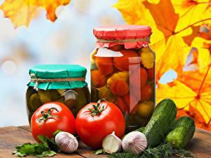 Bilder Gurke Tomate Knoblauch Herbst Dill Einweckglas das Essen