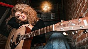 Wallpaper Curly Guitar Beautiful Hair Anton Harisov, Lerochka Polovinchik Girls