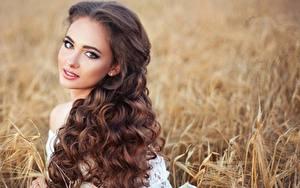 Hintergrundbilder Lockige Bokeh Braunhaarige Starren Frisuren Haar Schön junge Frauen