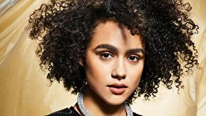 Desktop wallpapers Curls Hair Face Glance Brunette girl Nathalie Emmanuel Celebrities Girls