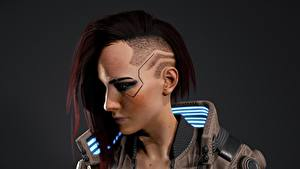 Bilder Cyberpunk 2077 Gesicht Kopf Frisuren Haar Cyborg Spiele Mädchens 3D-Grafik