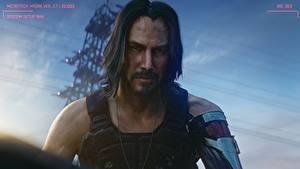 Bilder Cyberpunk 2077 Keanu Reeves Mann Frisuren Bärtiger Schnurrbart Blick Hübsche computerspiel Prominente