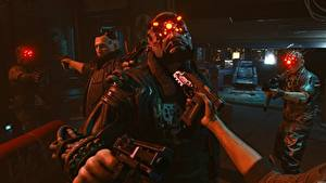 Pictures Cyberpunk 2077 Pistols Hands Cyborgs Games 3D_Graphics