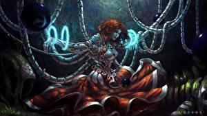 Bilder Cyborg Rotschopf Kleid Fantasy Mädchens