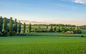 Desktop hintergrundbilder Tschechische Republik Acker Gebäude Bäume Bohemian landscape Natur