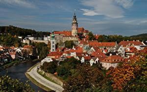 Hintergrundbilder Tschechische Republik Haus Burg Fluss Turm  Städte