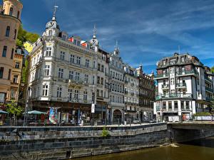 Hintergrundbilder Tschechische Republik Gebäude Kanal Stadtstraße Karlovy Vary