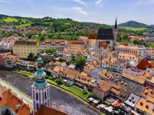 Hintergrundbilder Tschechische Republik Haus Flusse Von oben Dach Krumlov Städte