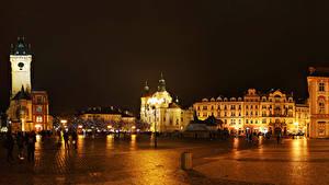 Bilder Tschechische Republik Prag Gebäude Platz Straßenlaterne Nacht Prague Square