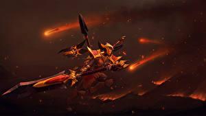 Fotos DOTA 2 Legion Commander Krieger Rüstung Helm Schwert Spiele