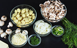 Bilder Dill Pilze Kartoffel Zwiebel Frühlingszwiebel Schüssel Lebensmittel