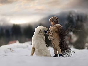 Hintergrundbilder Hunde Junge Schnee Unscharfer Hintergrund kind Tiere