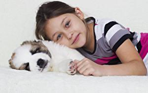 Images Dog Little girls Staring Puppies child Animals