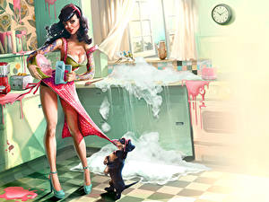 Pictures Dogs Painting Art Dress Humor Girls
