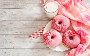 Hintergrundbilder Donut Zuckerguss Milch Rosa Farbe das Essen