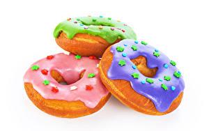 Desktop hintergrundbilder Donut Zuckerguss Weißer hintergrund Drei 3 Kleine Sterne Lebensmittel