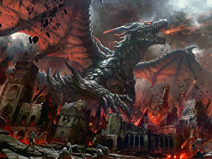 Bilder Drachen Schlacht Ruinen Feuer Fantasy