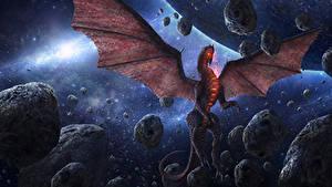 Bureaubladachtergronden Draken Steen Vleugels Chris Fox, Planet Strider Fantasy Ruimte