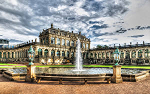 Wallpaper Dresden Germany Fountains Sky Palace Design Street lights Zwinger palace Cities