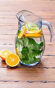 Fotos Getränk Orange Frucht Limonade Bretter Kanne das Essen