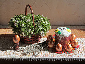 Picture Easter Kulich Wicker basket Eggs Branches Food