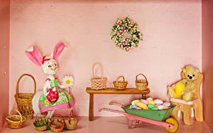 Bilder Ostern Kaninchen Teddy Design Weidenkorb Eier Tisch