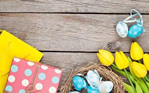 Hintergrundbilder Ostern Tulpen Bretter Nest Ei Geschenke Gelb Blumen Lebensmittel