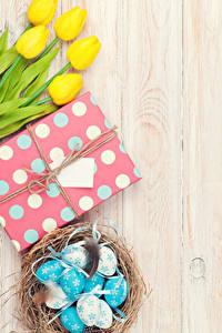 Bilder Ostern Tulpen Bretter Gelb Eier Nest Geschenke Blumen Lebensmittel