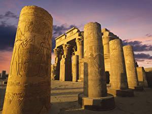 Hintergrundbilder Ägypten Ruinen Tempel Abend Säulen Temple of Kom Ombo