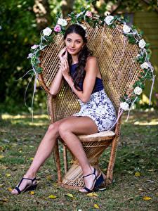 Bilder Model Sessel Sitzen Bein Starren Elle junge frau