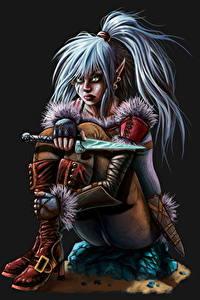 Bilder Elfen Messer Sitzend Fantasy