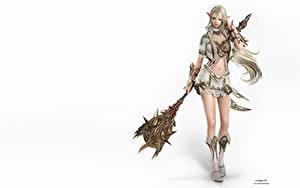 Bilder Elfen L2 Weißer hintergrund Magierstab Blond Mädchen Fantasy 3D-Grafik