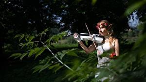Hintergrundbilder Elfen Violine Unscharfer Hintergrund Kranz Braunhaarige