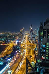 Fotos VAE Dubai Gebäude Straße Megalopolis Nacht