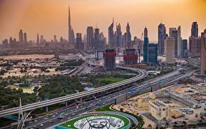 Hintergrundbilder VAE Dubai Gebäude Wolkenkratzer Parks Straße Von oben New Dubai