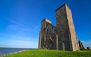 デスクトップの壁紙、、イングランド、教会堂、空、廃墟、塔、ハイダイナミックレンジ合成、Kent, Reculver Towers、自然