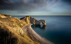 Pictures England Coast Crag Arch Dorset Nature