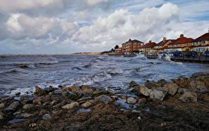 Bilder England Küste Haus Steine Wasserwelle Wolke Wirral Natur