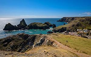 Hintergrundbilder England Küste Meer Felsen Cornwall