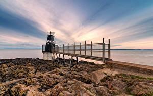 Bilder England Küste Steine Leuchtturm Somerset, Battery Point Lighthouse
