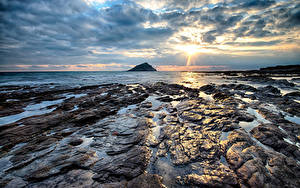 Fotos England Küste Stein Morgen Wolke Wembury Natur